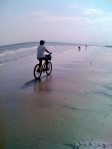 Biking on the beach of Hilton Head.