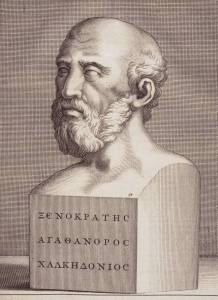 """Engraving of portrait of Greek philosopher Xenocrates (396-314 B. C.), disciple of Plato and the first to divide philosophy into logic, physics and ethics, from """"Diogenis Laertii de Vitis, Graeci et Latine"""" by Marcus Meibomius, 1692."""
