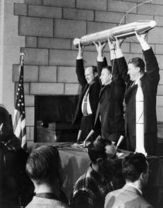 The three men who committed to developing the Explorer 1, America's first Earth satellite which was launched January 31, 1958. At left is Dr. William H. Pickering, former director of JPL, which built and operated the satellite. Dr. James A. van Allen, center, of the State University of Iowa, designed and built the instrument on Explorer that discovered the radiation belts which circle the Earth. At right is Dr. Wernher von Braun, leader of the Army's Redstone Arsenal team which built the first stage Redstone rocket that launched Explorer 1. The three men held a model of Explorer 1 over their heads the night the satellite--the U.S.'s first--went into orbit, four months after Sputnik.ID: GPN-2000-000478 Other ID: P8485 Credit: NASA Headquarters - GReatest Images of NASA (NASA-HQ-GRIN)