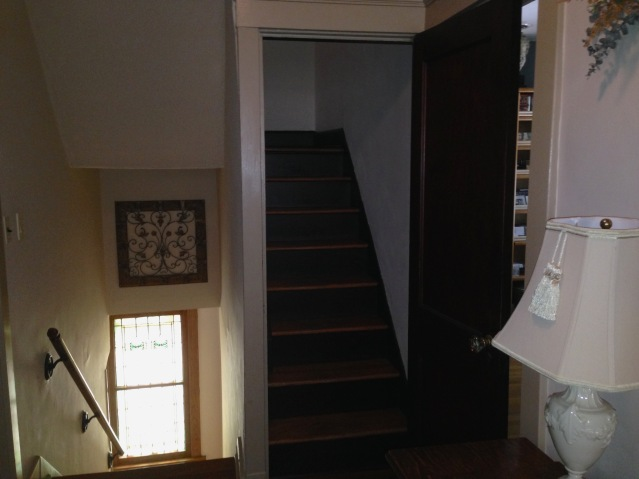 2nd floor hallway, showing steps from 1st floor and to 3rd floor. (July, 2015)