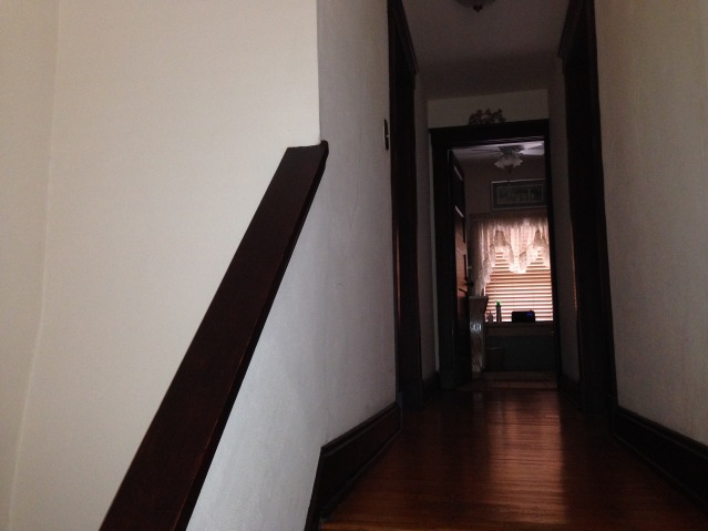 3rd floor hallway with direct view of 3rd floor bath. (July, 2015)