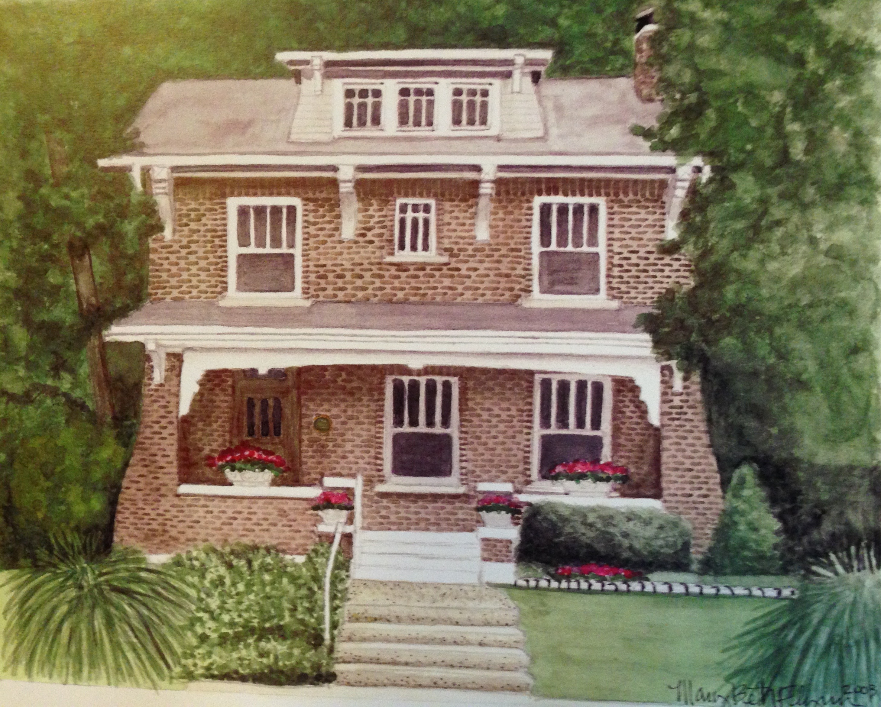 A Portrait Of House At 6647 Waterman By Mary Beth Flynn   2003 NOTE: Click